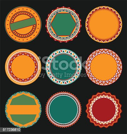 Collection Of Mexican Round Decorative Border Frames With Black ...