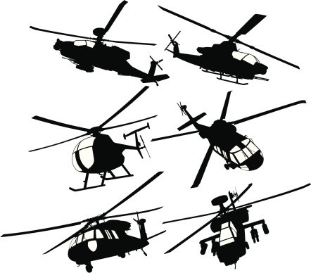 Detailed silhouettes of modern combat or transport helicopters seen from different angles. The collection contains two AH-64 Apache Longbow, one AH-1 Cobra, one MH-6 Littlebird, and two UH-60 Blackhawk. The windows are separated from the main black silhouettes to easily delete them or change their colors.