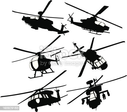 istock Collection of military transport and combat helicopters 165929183