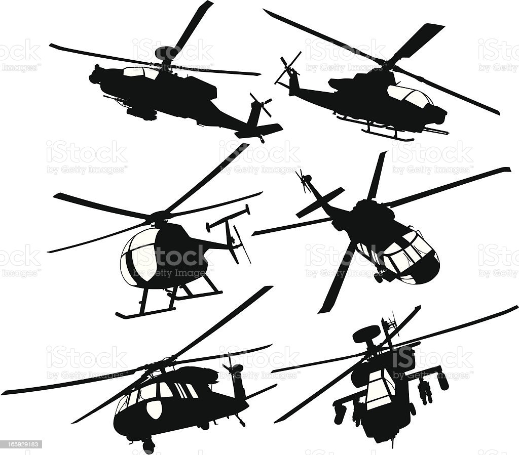 Collection of military transport and combat helicopters vector art illustration