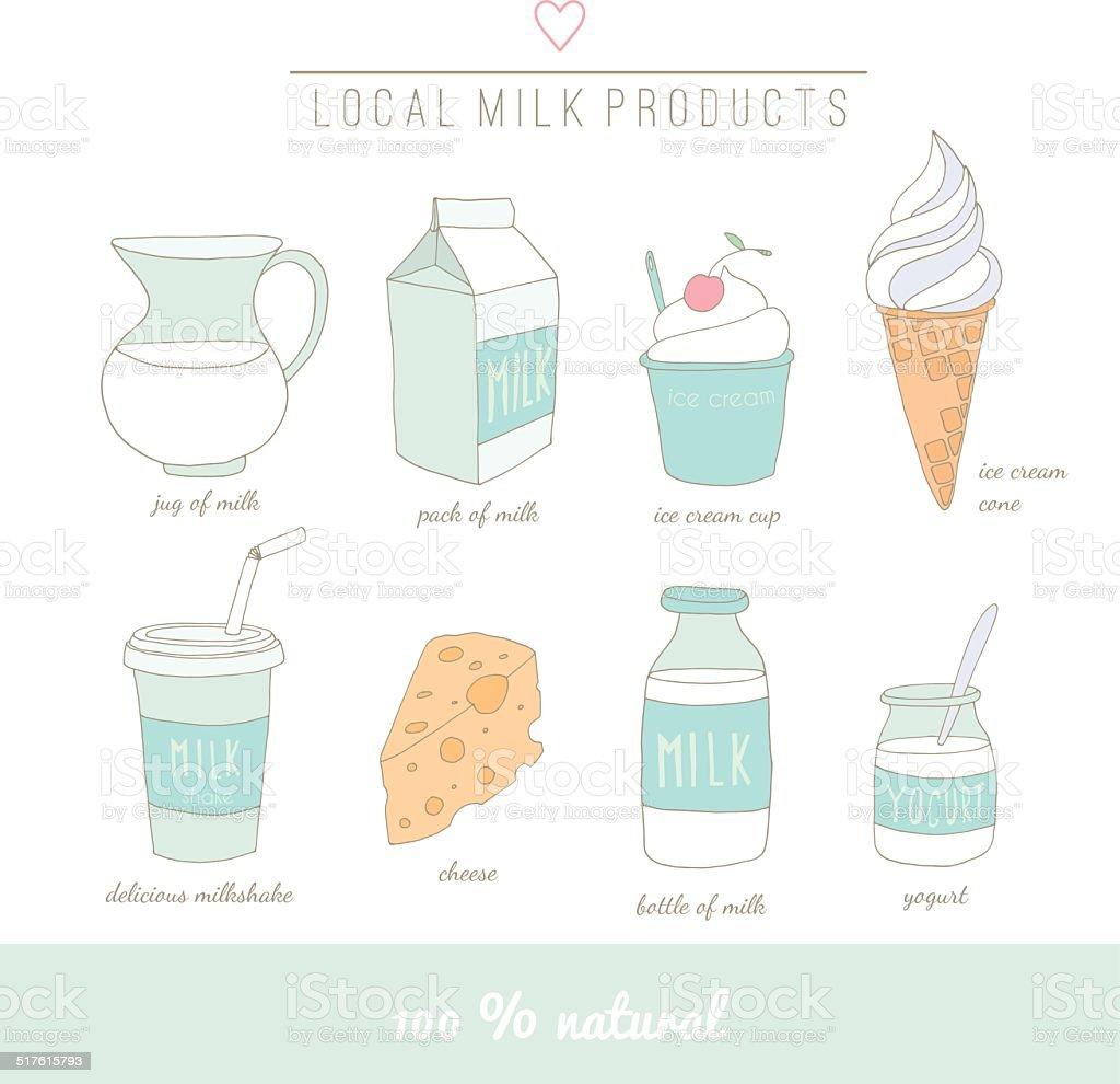 Collection of milk doodles vector art illustration