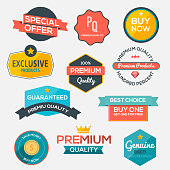 Collection of modern, flat design-styled labels and design elements