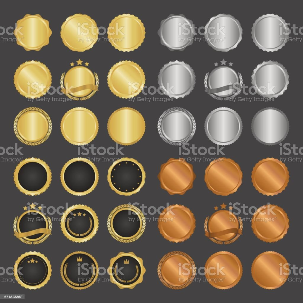 Collection of modern, gold circle metal badges, labels and design elements. Vector illustration.