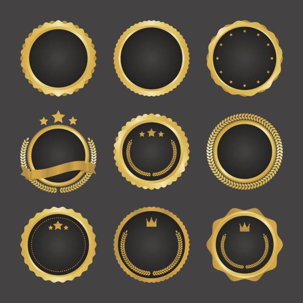 Collection of modern, gold circle metal badges, labels and design elements. Vector illustration. Collection of modern, gold circle metal badges, labels and design elements. Vector illustration. good condition stock illustrations
