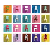 Collection of modern shadows chair flat icon. Vector illustration.