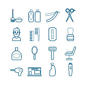Collection of modern vector line barber tools icons. Modern flat icons for web, print, mobile apps design