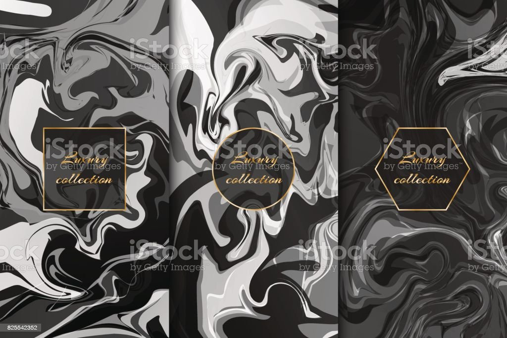 Collection of monochrome marble backgrounds vector art illustration