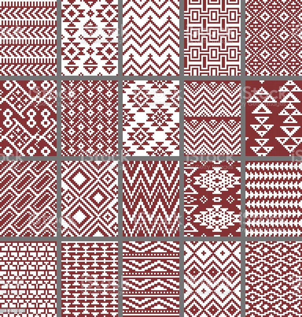 Sammlung von monochrom nahtlose pixel-Muster im Azteken tribal-Stil – Vektorgrafik