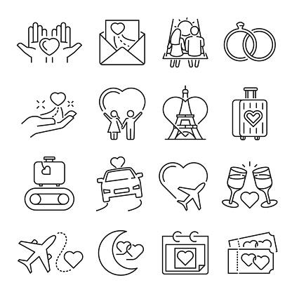 Collection of monochrome simple honeymoon icon vector illustration linear romantic symbols