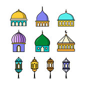 mosque domes and flat style lantern designs, isolated white backgrounds
