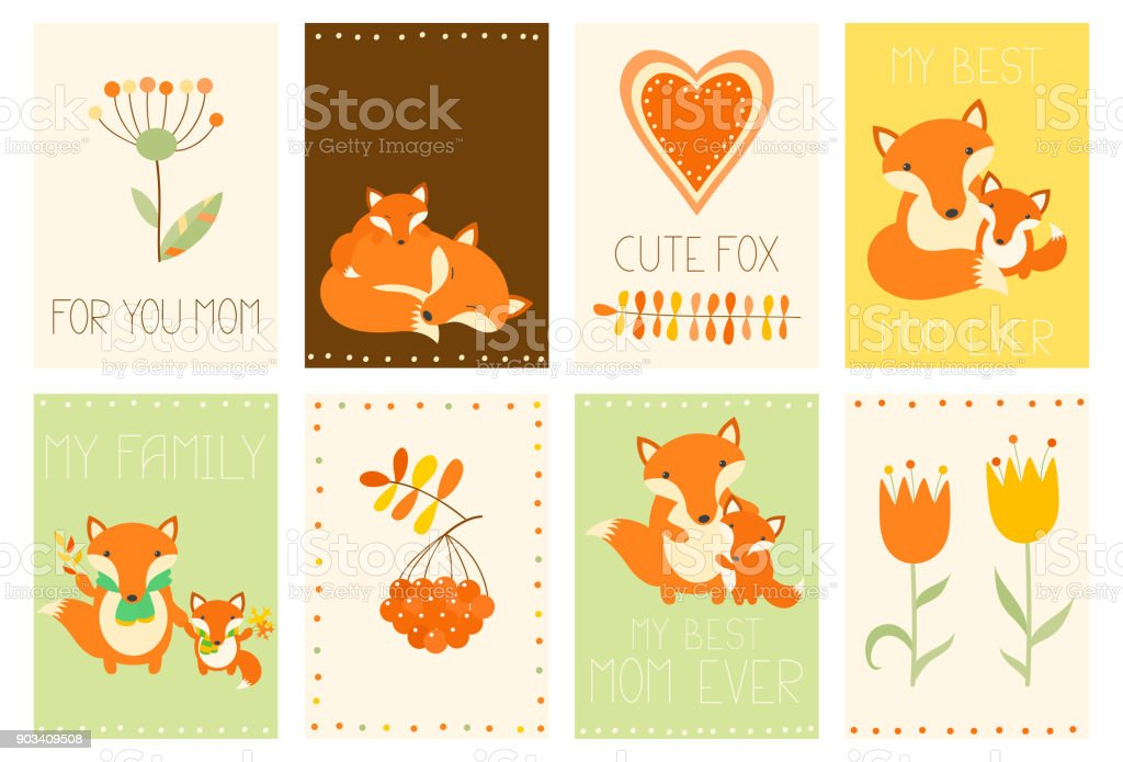 Collection of Mother's Day banners with cute fox family vector art illustration