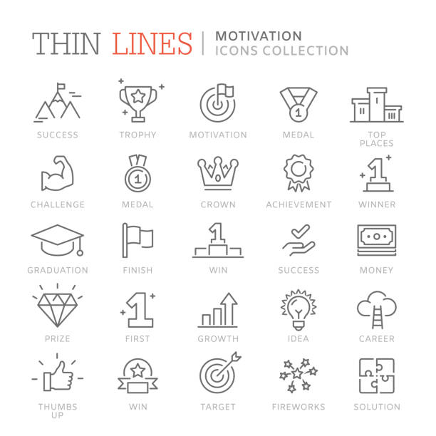 Collection of motivation icons Collection of motivation thin line icons. Vector eps 8 stiff stock illustrations