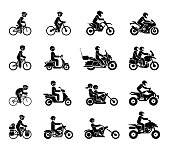 Collection of Motorcycles and bicycles icons.