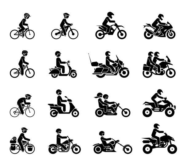 ilustrações, clipart, desenhos animados e ícones de coleção de ícones de motocicletas e bicicletas. - moto
