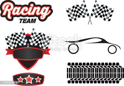 Vector illustration of a motorsports design elements on a white background
