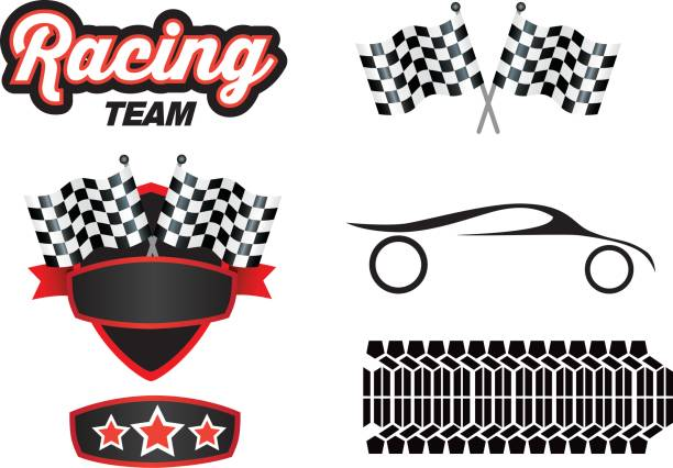 collection of motorport logos and graphic design Vector illustration of a motorsports design elements on a white background auto racing stock illustrations