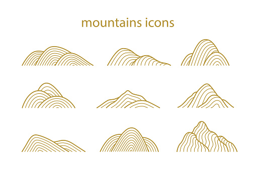 Collection of mountain shapes icons isolated on white background. Line art design. Vector flat illustration.