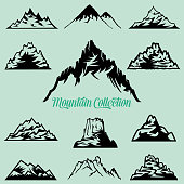 Collection of Mountain Silhouettes Clip Art