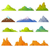 Collection of mountains in cartoon style. Vector mountains peaks isolated on white background. Rocky landscape. Desert cliffs. Background with hills. Elements for your design. Eps 10.