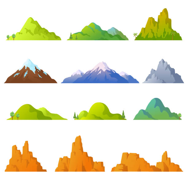 Collection of mountains in cartoon style. Vector mountains peaks isolated on white background. Rocky landscape. Desert cliffs. Background with hills. Elements for your design. Eps 10. Collection of mountains in cartoon style. Vector mountains peaks isolated on white background. Rocky landscape. Desert cliffs. Background with hills. Elements for your design. Eps 10. hill stock illustrations
