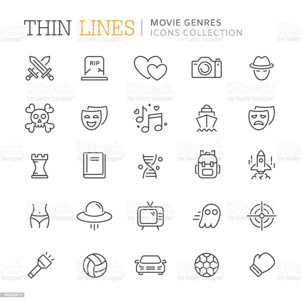 Kolekcja gatunków filmowych cienkich ikon linii - Grafika wektorowa royalty-free (Film - Impreza rozrywkowa)