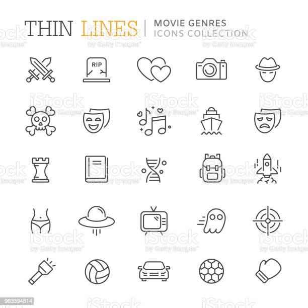 Kolekcja Gatunków Filmowych Cienkich Ikon Linii - Stockowe grafiki wektorowe i więcej obrazów Film - Impreza rozrywkowa