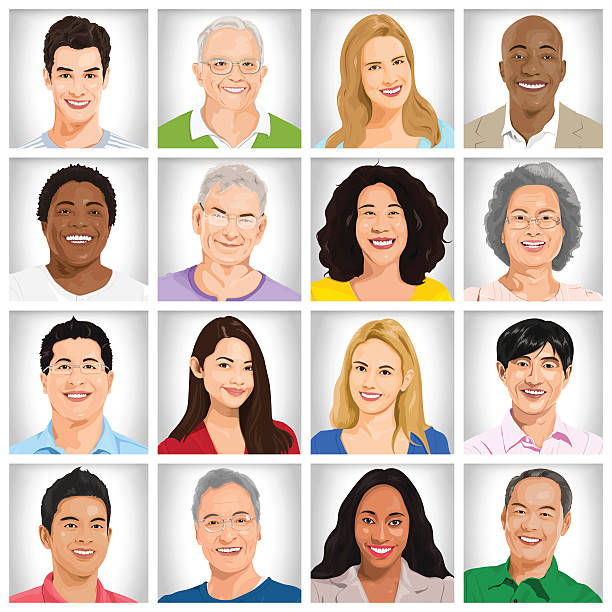 collection of multi-ethnic people - head and shoulders stock illustrations, clip art, cartoons, & icons