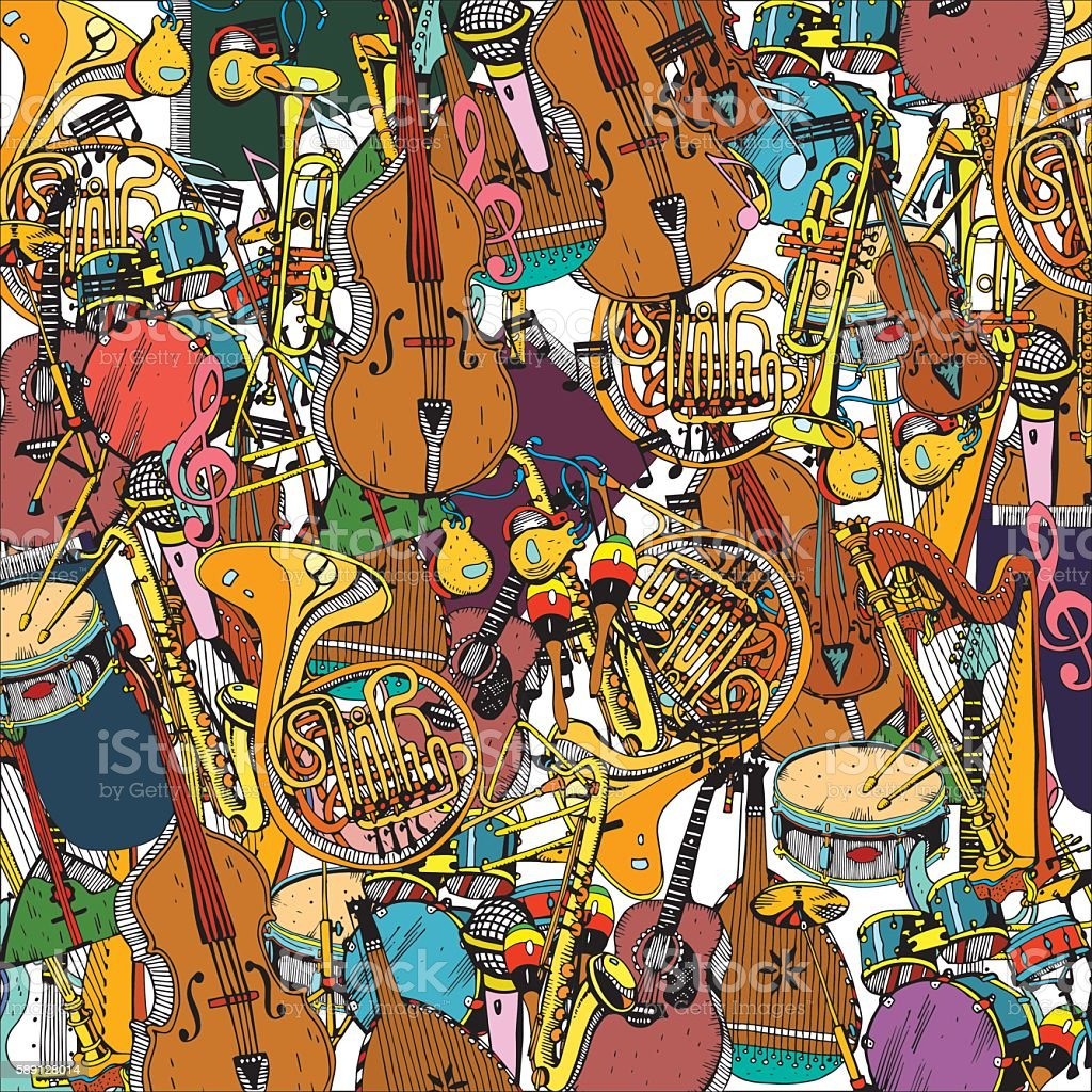 Collection of Music Instruments. Hand drawn illustration in doodle style. vector art illustration