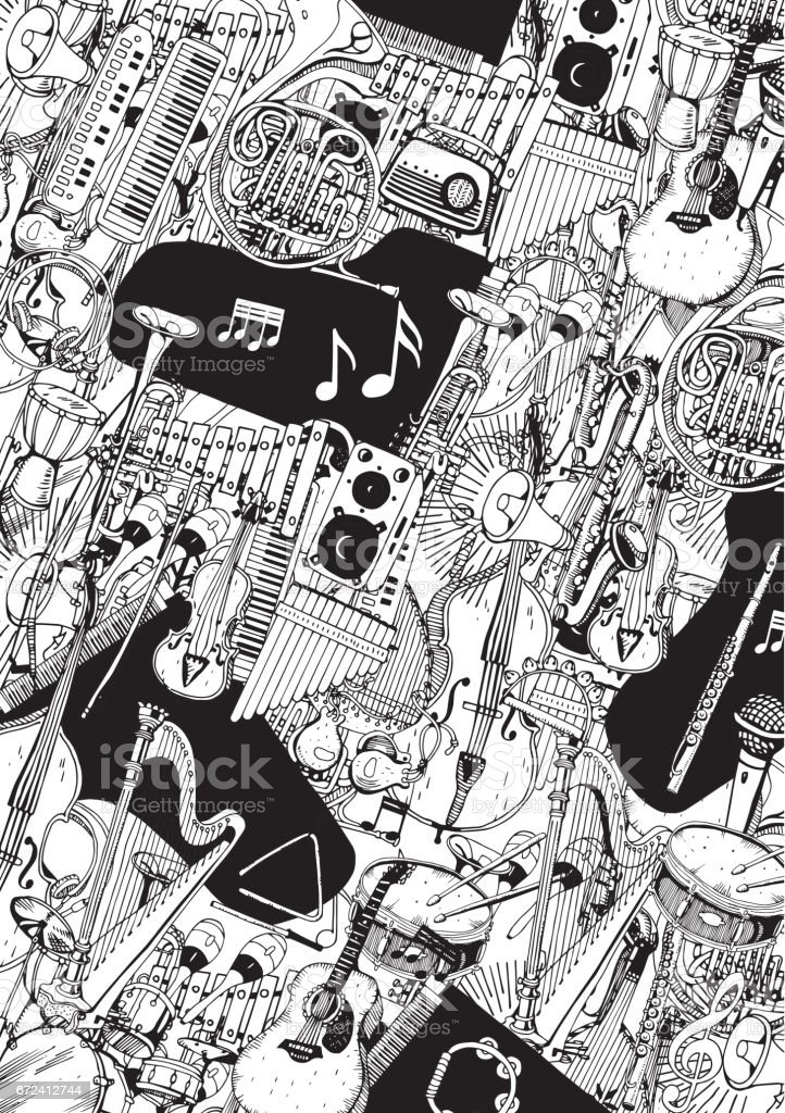 Collection of Music Instruments. Hand drawn illustration in doodle style. векторная иллюстрация