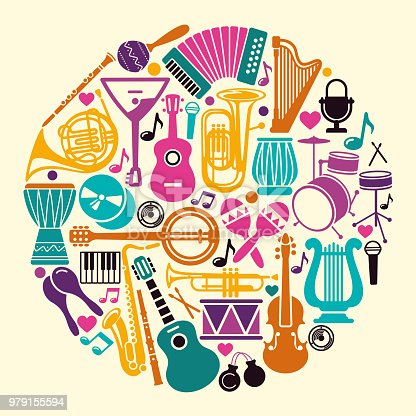 Musical instruments icons in the form of a circle over white background