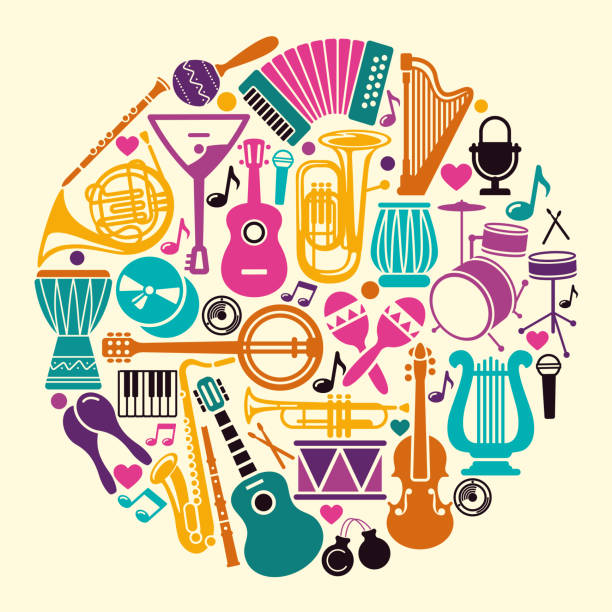 collection of musical instruments icons in the form of a circle - akordeon instrument stock illustrations