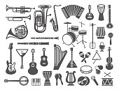 Musical instruments icon set over white background