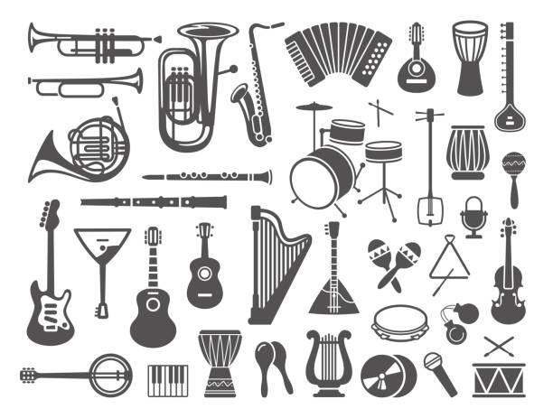kolekcja ikon instrumentów muzycznych - instrument muzyczny stock illustrations