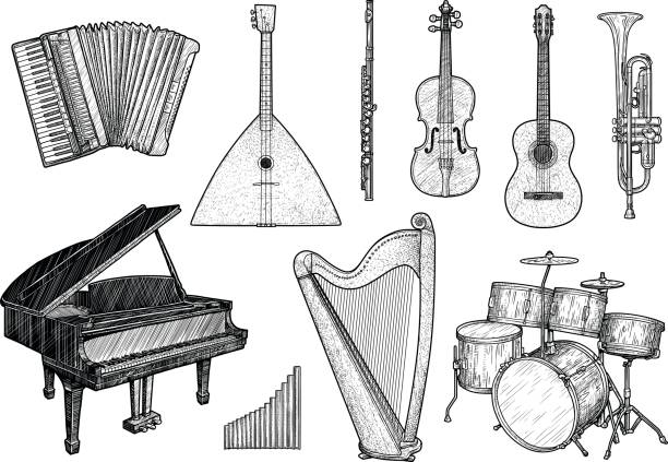 collection of musical instruments illustration, drawing, engraving, ink, line art, vector - instrument perkusyjny stock illustrations