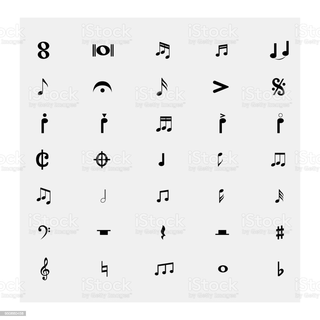 Collection of Musical Notes. Vector illustration