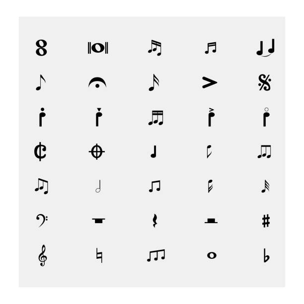 sammlung von noten. vektor-illustration - musiksymbole stock-grafiken, -clipart, -cartoons und -symbole