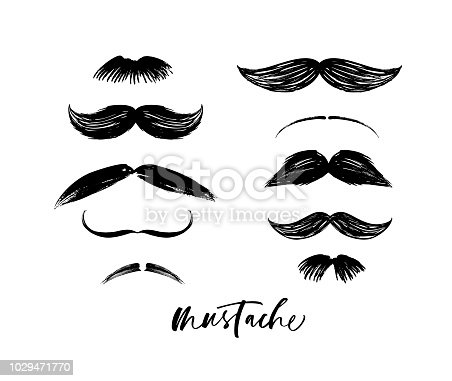 Collection of mustaches. Hand drawn style. Funny mustache. Collection of cartoon barber silhouette hairstyle .