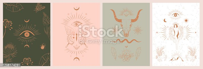 istock Collection of mythology and mystical poster illustrations 1208174231