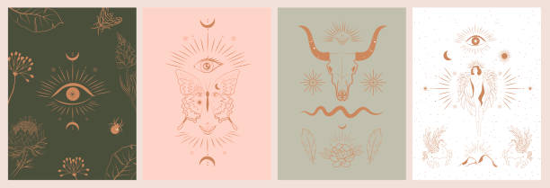Collection of mythology and mystical poster illustrations Collection of mythology and mystical poster illustrations in hand drawn style. fantasy animals, mythical creature, esoteric and boho objects, woman and moon, snake and evil eye. Vector Illustration voodoo stock illustrations