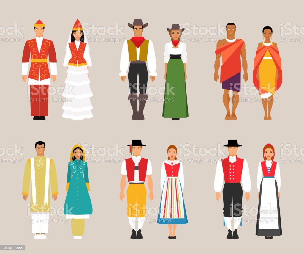 民族衣装のコレクション アジア大陸のベクターアート素材や画像を多数