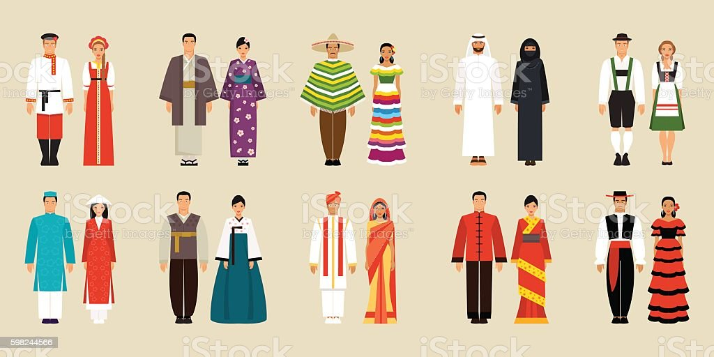Collection of national costumes. Vector illustration vector art illustration
