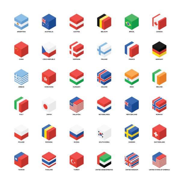 Auflistung der nationalen Flaggen isometrische Symbol flaches design – Vektorgrafik