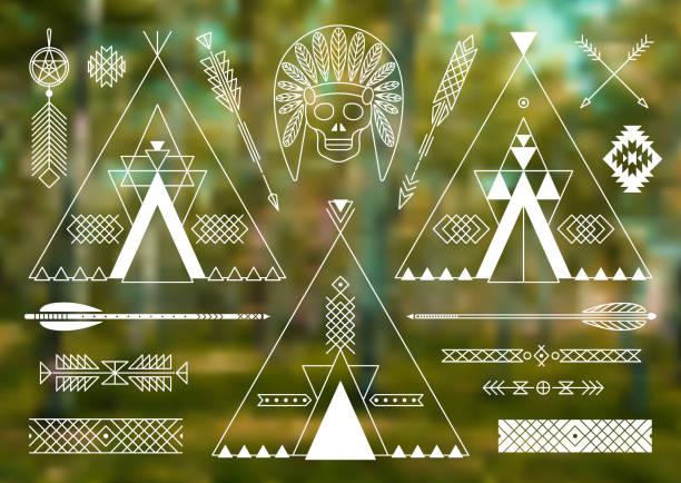 Coleção de nativos americanos tribal estilizada elementos de design. - ilustração de arte em vetor