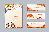 Collection of nature autumn sale banner with colorful leaves,fall poster background for advertising,website,flyer,template,promotion,voucher discount or online shopping,vector illustration