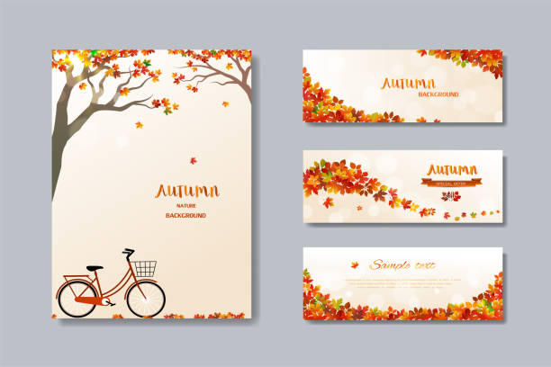 collection of nature autumn sale banner with colorful leaves,fall poster background for advertising,website,flyer,template,promotion,voucher discount or online shopping - autumn stock illustrations