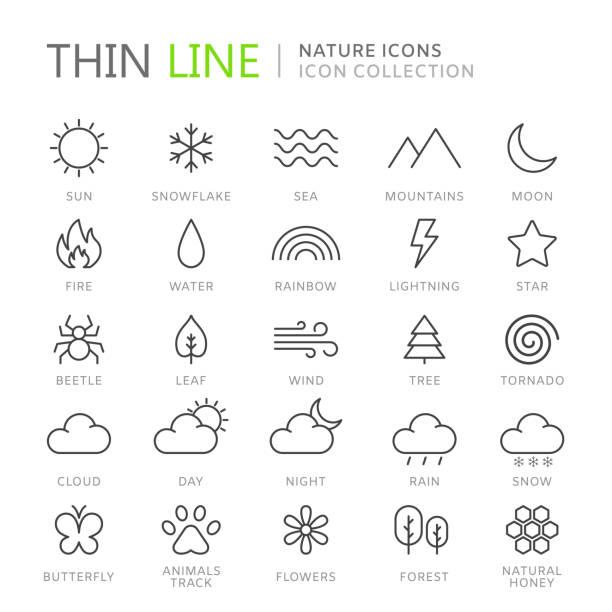 stockillustraties, clipart, cartoons en iconen met verzameling van nature dunne lijn icons - regen zon