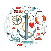 Collection of nautical elements in a circle shape.