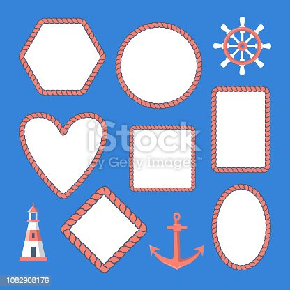 Collection of nautical rope frames and marine symbols - anchor, lighthouse, steering wheel.