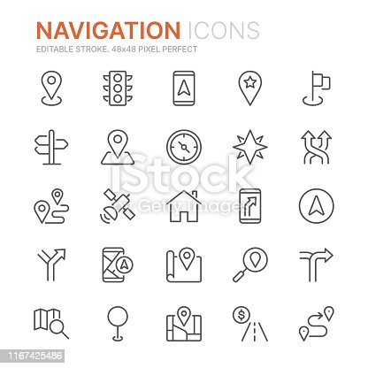Collection of navigation related line icons. 48x48 Pixel Perfect. Editable stroke