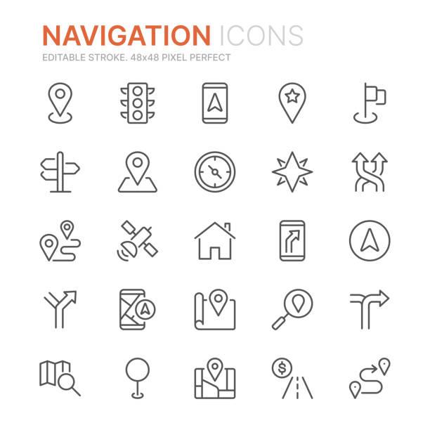 ilustrações de stock, clip art, desenhos animados e ícones de collection of navigation related line icons. 48x48 pixel perfect. editable stroke - posição